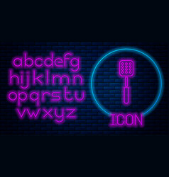 Glowing neon spatula icon isolated on brick wall vector