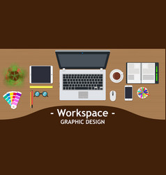 Graphic designer workspace office creative desk vector
