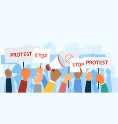 group diverse protesters holding up banners vector image