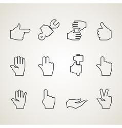 Hands outline vector