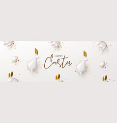 happy easter horizontal banner template vector image