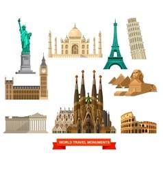 High quality detailed World landmarks vector image