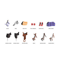 Horse riding outfitting flat vector