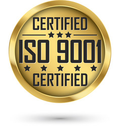 iso 9001 certified gold label vector image
