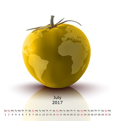July 2017 tomato calendar vector image