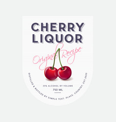 Label cherry liquor red ripe cherries original vector