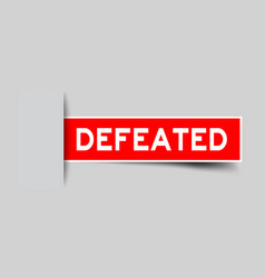 Label sticker red color in word defeated that vector