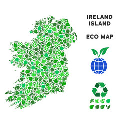 leaf green mosaic ireland island map vector image