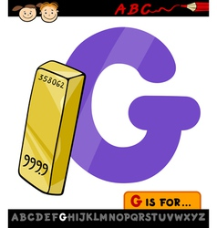 letter g with gold cartoon vector image