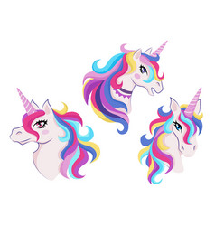 Magic unicorns with colorful horns and manes icon vector