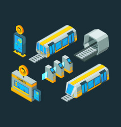 Metro elements train escalator and subway gate vector