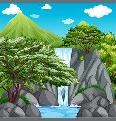 nature scene with waterfall in mountains vector image