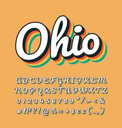 Ohio vintage 3d lettering retro bold font italic vector
