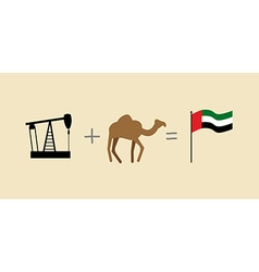 Oil rig and camel Symbols of United Arab Emirates vector image