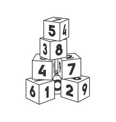 Outline block building tower with numbers for vector