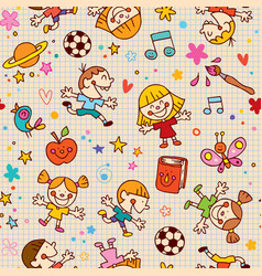 Playful happy kids fun seamless pattern vector
