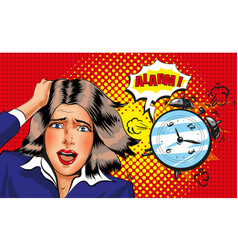 pop art panic girl with alarm clock vector image