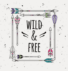 poster in boho style american indian motifs vector image