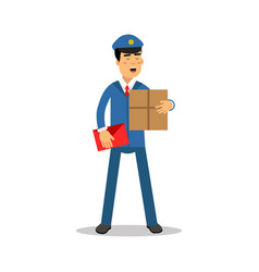 postman in blue uniform with red bag holding vector image