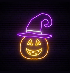 Pumpkin neon sign happy halloween bright vector