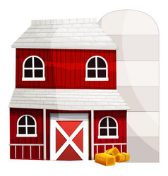 red barn and white silo vector image