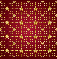 red christmas pattern background with golden vector image