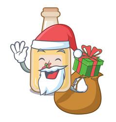 Santa with gift bottle apple cider above cartoon vector