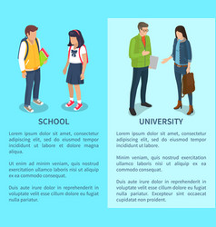 School and university set of posters with text vector