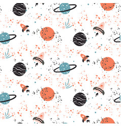 Seamless pattern with planets and vector