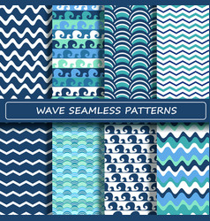 set blue and white sea wave seamless patterns vector image