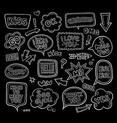 Set of hand drawn linear speech balloons vector
