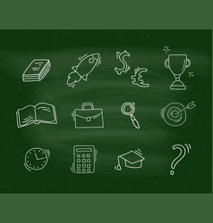 set of hand drawn school icons vector image