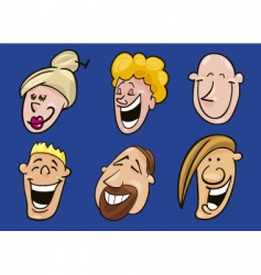 set of jolly faces vector image vector image