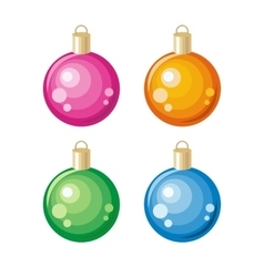 Set of New Year Toys Christmas Ornament Decoration vector