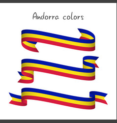 set of three ribbons andorra tricolor vector image