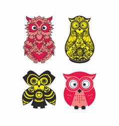 Set owls vector
