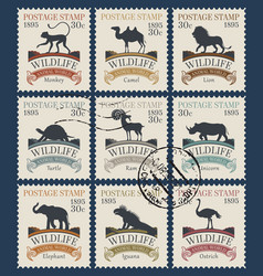 set postage stamps on theme wildlife vector image