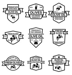 set vintage olive oil labels design element vector image