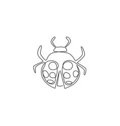 single one line drawing adorable ladybug vector image