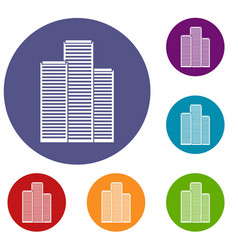 Skyscrapers in singapore icons set vector