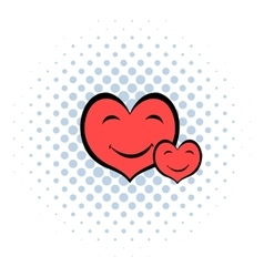 Smiling heart faces icon comics style vector