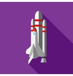 Space shuttle launch icon flat style vector image