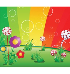 Spring floral background with rainbow vector