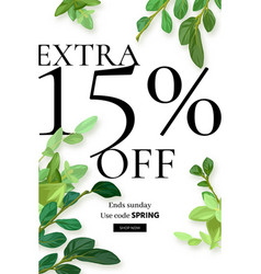 spring floral eco design with green leaves vector image