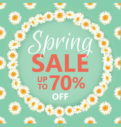 spring sale banner with daisy chain and text on vector image