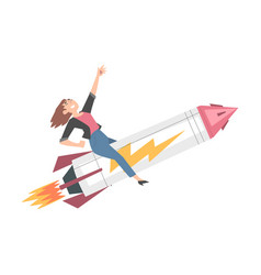 successful businesswoman flying on rocket ship vector image