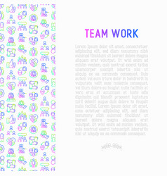 Teamwork concept with thin line icons vector