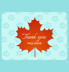 thank you card autumn background vector image
