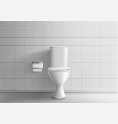 Toilet bowl with toilet paper realistic vector