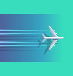top view plane above ocean vector image